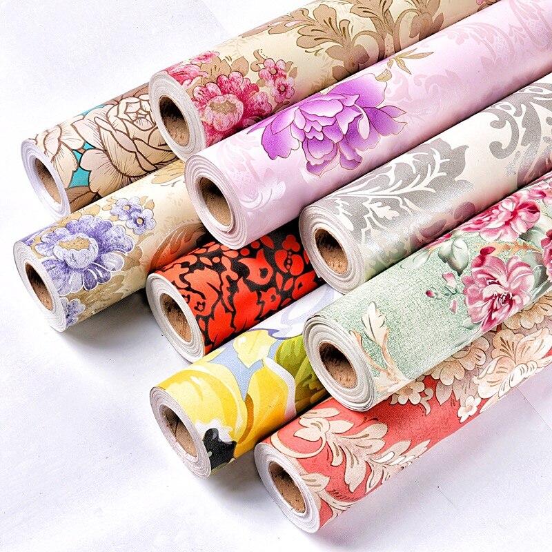 Fleurs de pivoine auto-adhésif vinyle papier peint décoratif stickers muraux pour la maison mur décoration de chambre 0.45 m * 10 m