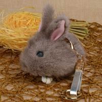 100%リアルミンクの毛皮キーホルダーペンダントバッグ車の毛皮の魅力携帯電話キーリングかわいいミニふわふわウサギのおもちゃ人形キーホルダ
