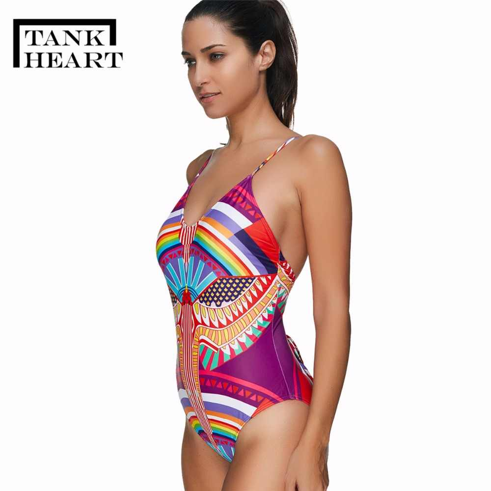 aa4c750704347 ... Tank Heart Sexy Print Floral Bandage India One Piece Bikinis Push-Up  Padded Swimsuit Beachwear ...
