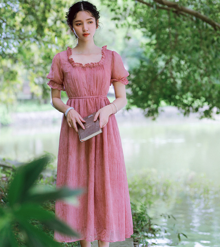 Women Dresses Summer 2019 Pink Chiffon Long Dress Ladies Vintage Retro Sweet Elegant Casual Loose Formal