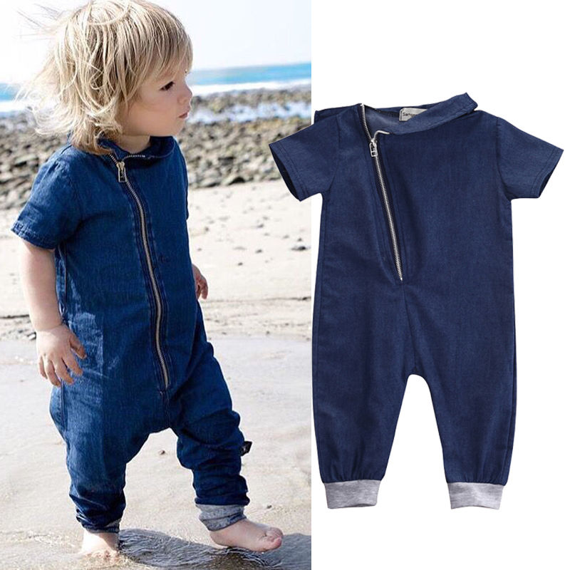 2017 Hot Newborn Baby Boy Girls Clothes Denim Romper Short Sleeve Zipper Jumpsuit Overall Outfits One pieces 3pcs set newborn infant baby boy girl clothes 2017 summer short sleeve leopard floral romper bodysuit headband shoes outfits