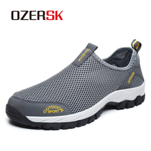 OZERSK Men Shoes Summer Sneakers Breathable Casual Shoes Fashion Slip On Mens Mesh Flats Shoes Walking Shoes Plus Size 39~48