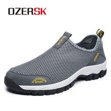 OZERSK erkek ayakkabısı yaz ayakkabı nefes alan günlük ayakkabılar moda kayma erkek örgü Flats ayakkabı yürüyüş ayakkabısı artı boyutu 39 ~ 48