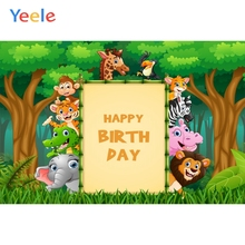 Yeele Jungle Party Safari Animals Board Baby Birthday Photography Backgrounds Customized Photographic Backdrops for Photo Studio