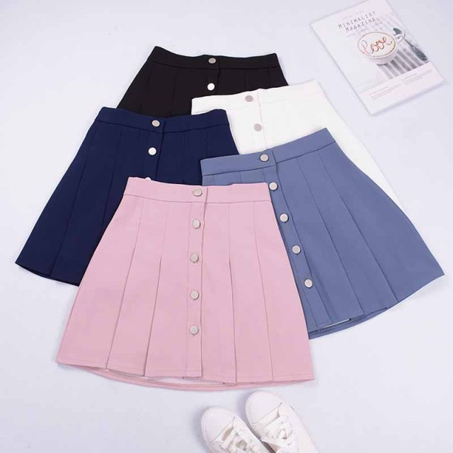 e393de91ee 2018 New Women Summer Mini Skirts High Waist Pleated Skirt Single Row of  Buckle Sweet Cute Skirts Female #5176