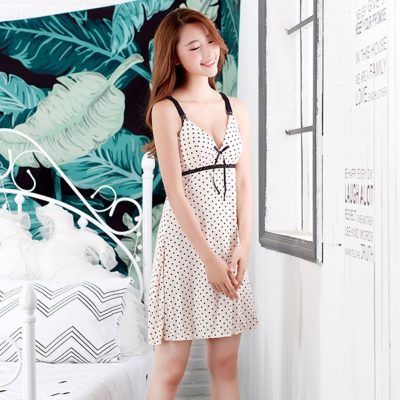 Maternity Sleepshirts Dress Nursing Vest Nightgown Pregnant Women Bow Nursing Wireless V-neck Sleeveless Nightgowns