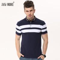 JACK CORDEE 2017 Summer Turn Down Collar Stripe Stylish T Shirt Men Cotton Casual Short Sleeve