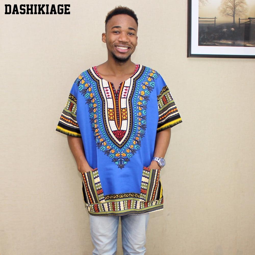 2017 New Fashion Design African Traditional Print 100% Cotton Dashiki T-shirt For Unisex