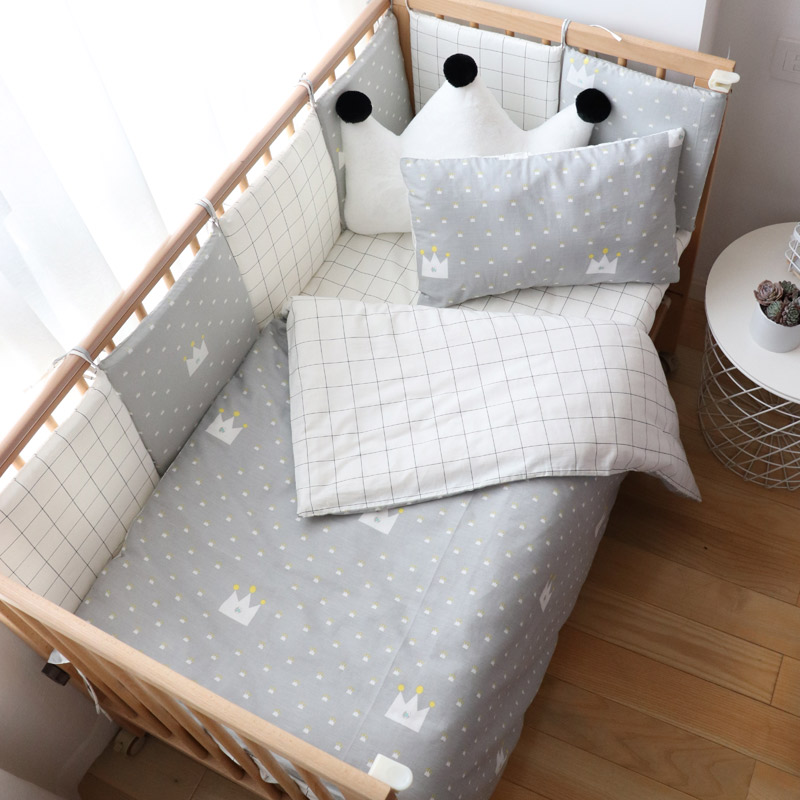 Baby Bedding Set Nordic Baby Items For Newborns Cotton Kids Crib Bedding Set With Bumper Nursery Decor Baby Bed Linen For Infant