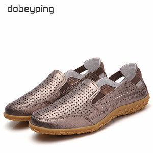 Image 2 - חדש אמיתי עור נשים קיץ נעלי מגזרות אישה ופרס אופנה חלול נשים של דירות לנשימה נשי נעל dobeyping