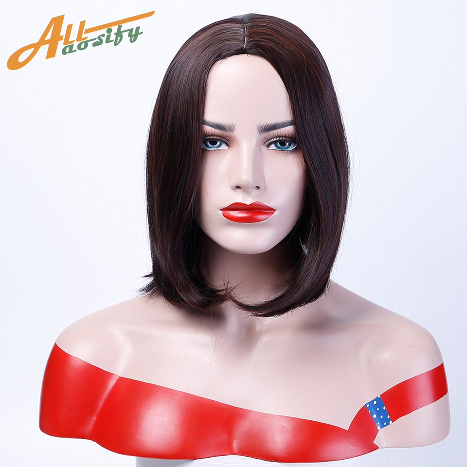 Allaosify Bob Wig Black Middle Length Heat Resistant Synthetic Full Wigs for Women Costume Cosolay Hair Wig