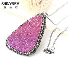 Rose Red Natural Druzy Geode Silce Pendant Pave CZ Irregular Healing Stone Necklace for Women
