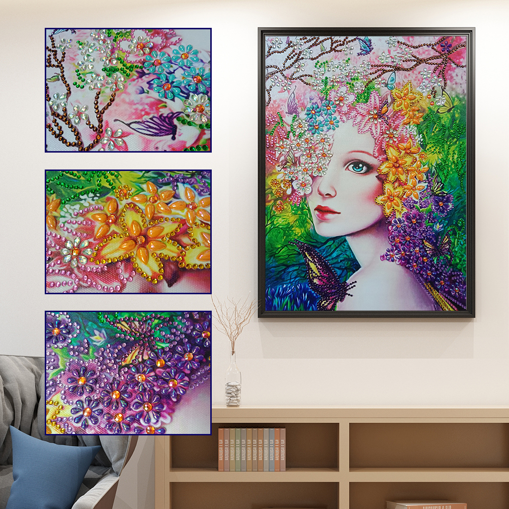 Special Shaped Diamond Painting Flower Fairy Modern Pattern DIY 5D Partial Drill Cross Stitch Kits Crystal Arts Home Decoration