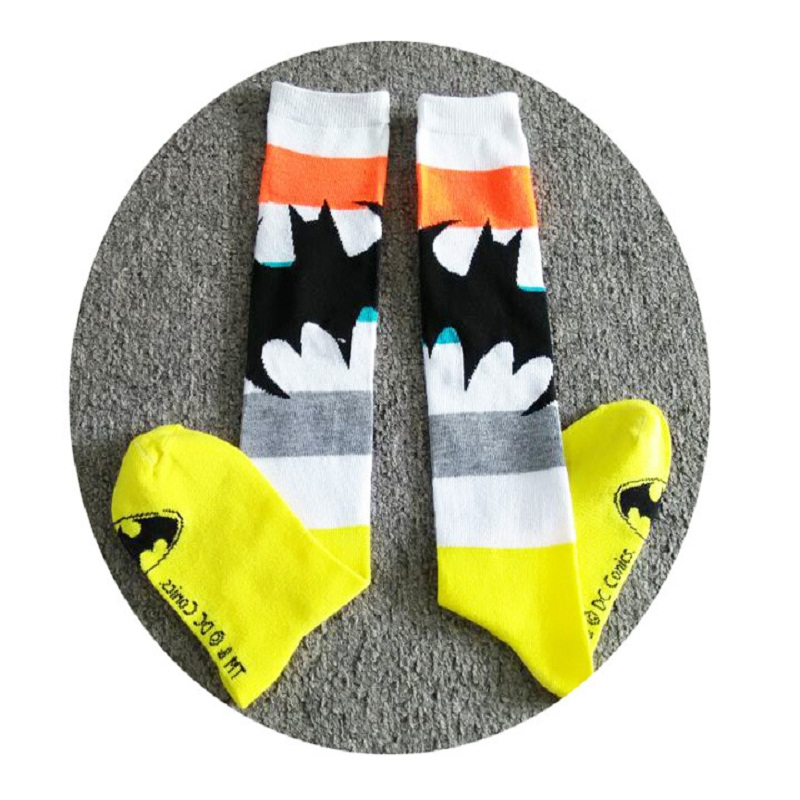 2018 Hot Sale Special Offer Standard Casual Men Socks Fashion Colorful Batman Pattern Cotton Socks Long Male / Female Neutral