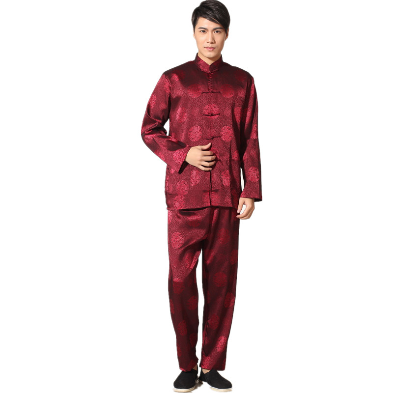 New Chinese Traditional Men's Satin Rayon Kung Fu Suit Vintage Long Sleeve Tai Chi Wushu Uniform Clothing M L XL XXL 3XL L070615