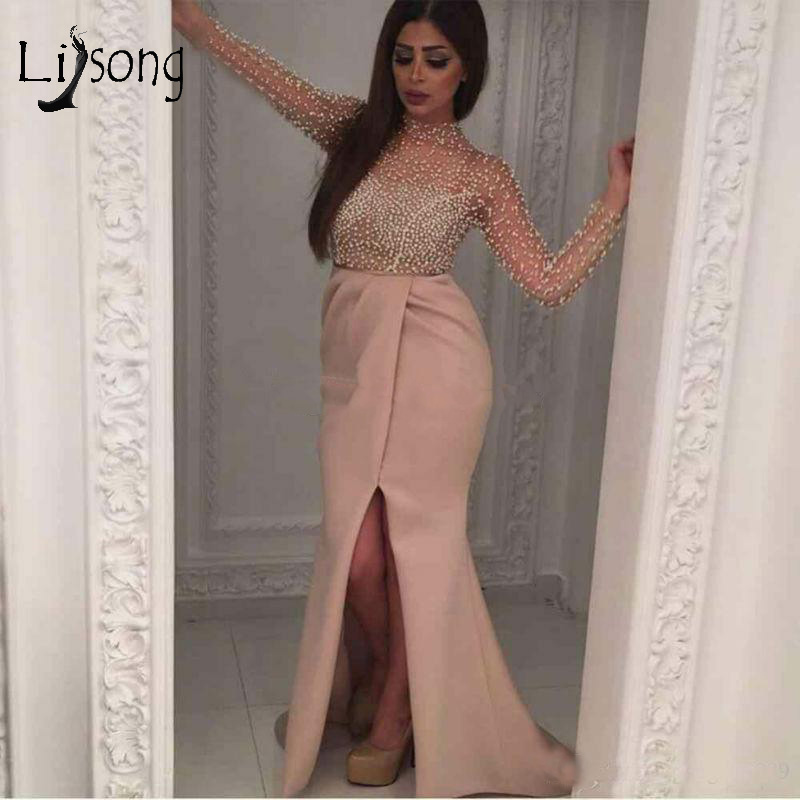 Saudi Arabic Pearls   Evening     Dress   With Illusion Full Sleeves High Collar Muslim Mermaid Prom Gowns Sexy Side Split Party Dreses