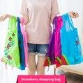 Heißer Kreative umwelt lagerung tasche Handtasche Erdbeere Faltbare Einkaufstaschen Mehrweg Klapp Grocery Nylon eco tote Tasche