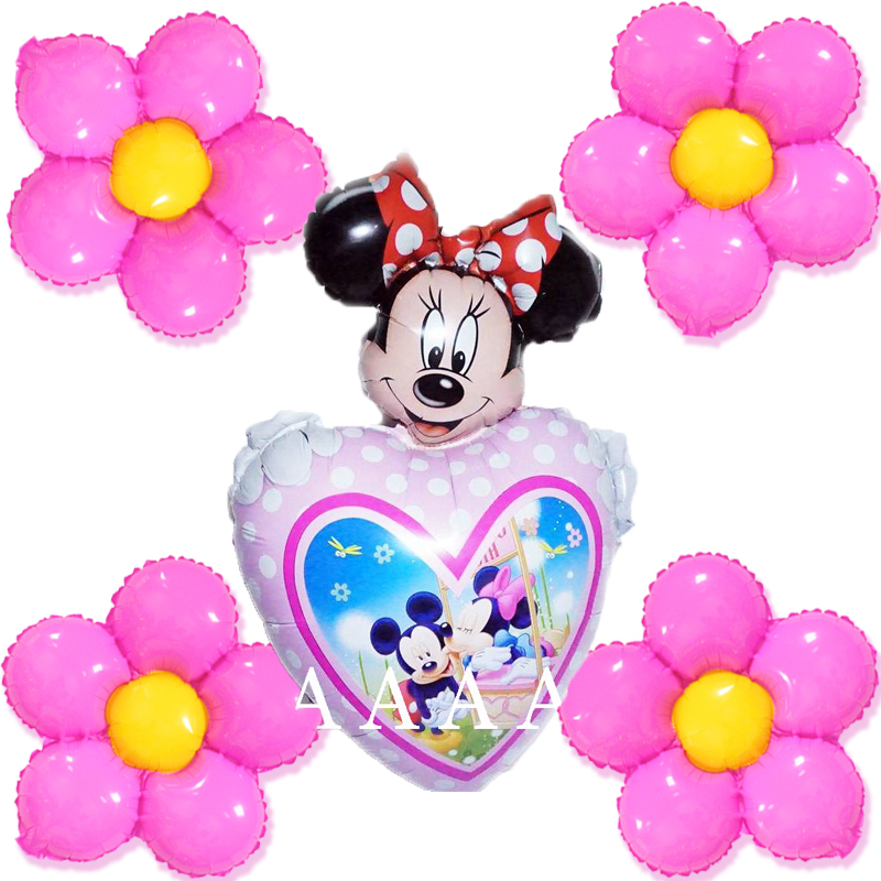 mixed 5pcs heart minnie and pink flower balloons foil material children toy for girl happy birthday balloons party supplies