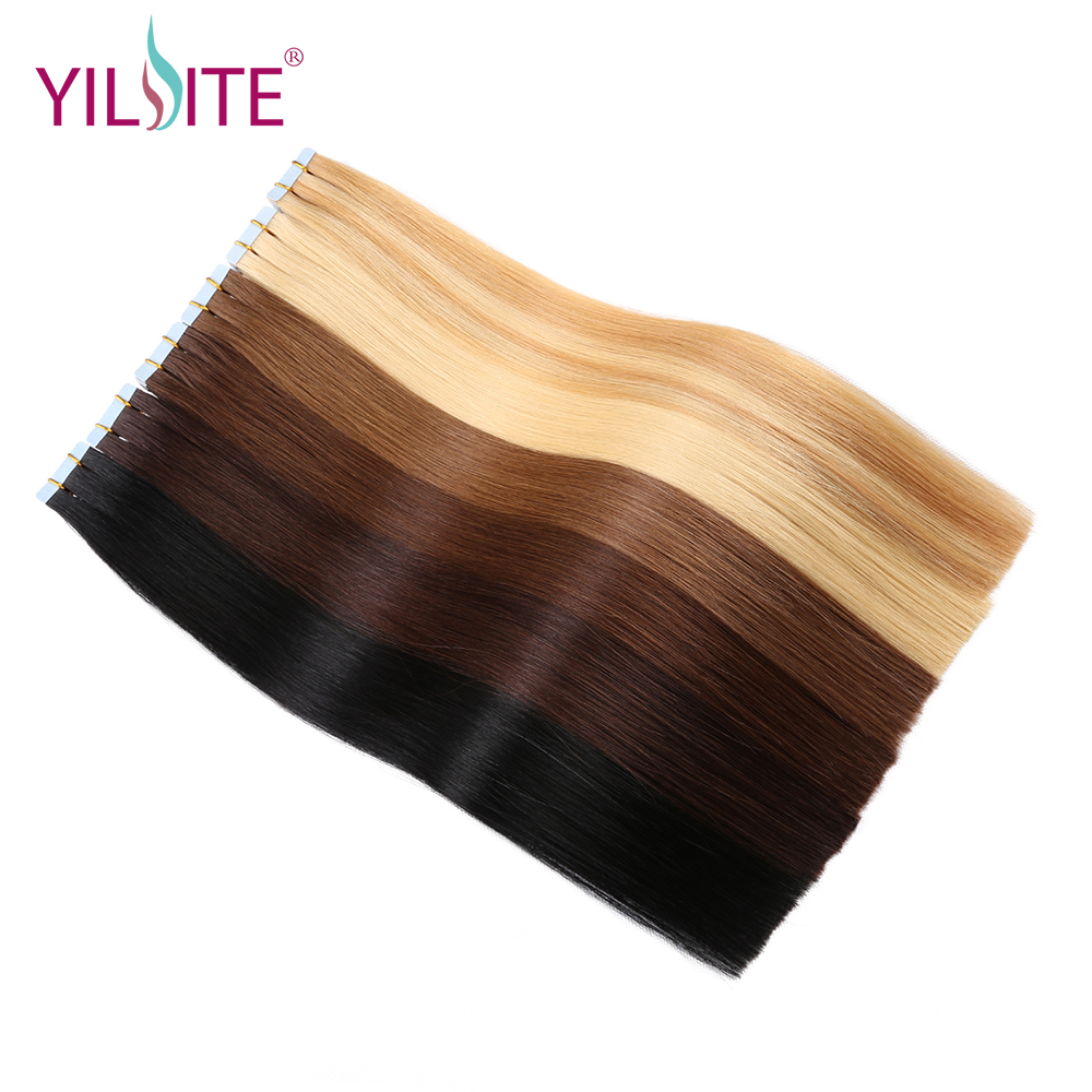 Yilite Hair 16-18 Remy Tape In Human Hair Extensions, 9 Colors Silky Straight European Tape in Hair Extensions Salon Style