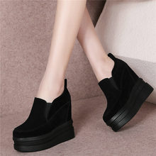 Punk Creepers Women Tennis Shoes Genuine Leather High Heel Party Pumps Wedges Platform Oxfords Casual Trainers