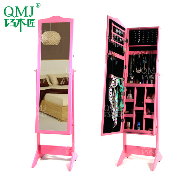 NEW Luxury Large Furniture Hot Pink Mirror Jewelry Cabinet With Dressing  Mirror Stand Storage Makeup Organizer