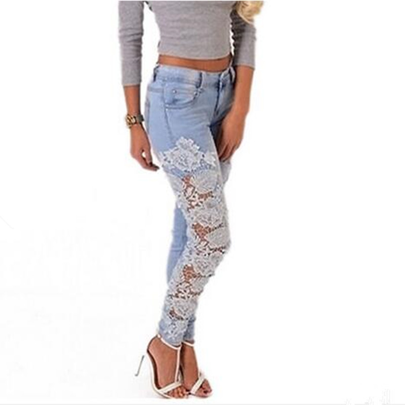 2017 Women Fashion Side Lace Jeans Hollow Out Skinny Denim Jeans Woman Pencil Pants Patchwork Trousers for Women