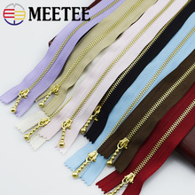 Meetee 3# Golden 20cm Close-end Metal Zippers Closure for Sewing Repair Kit Tools Garment Purse Bags Accessories A4-16