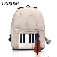 Brand Piano Musical Violin Backpack Backpacks For Teenage Girls Cool Designs Music School Bag Rucksack mochila escolar feminina