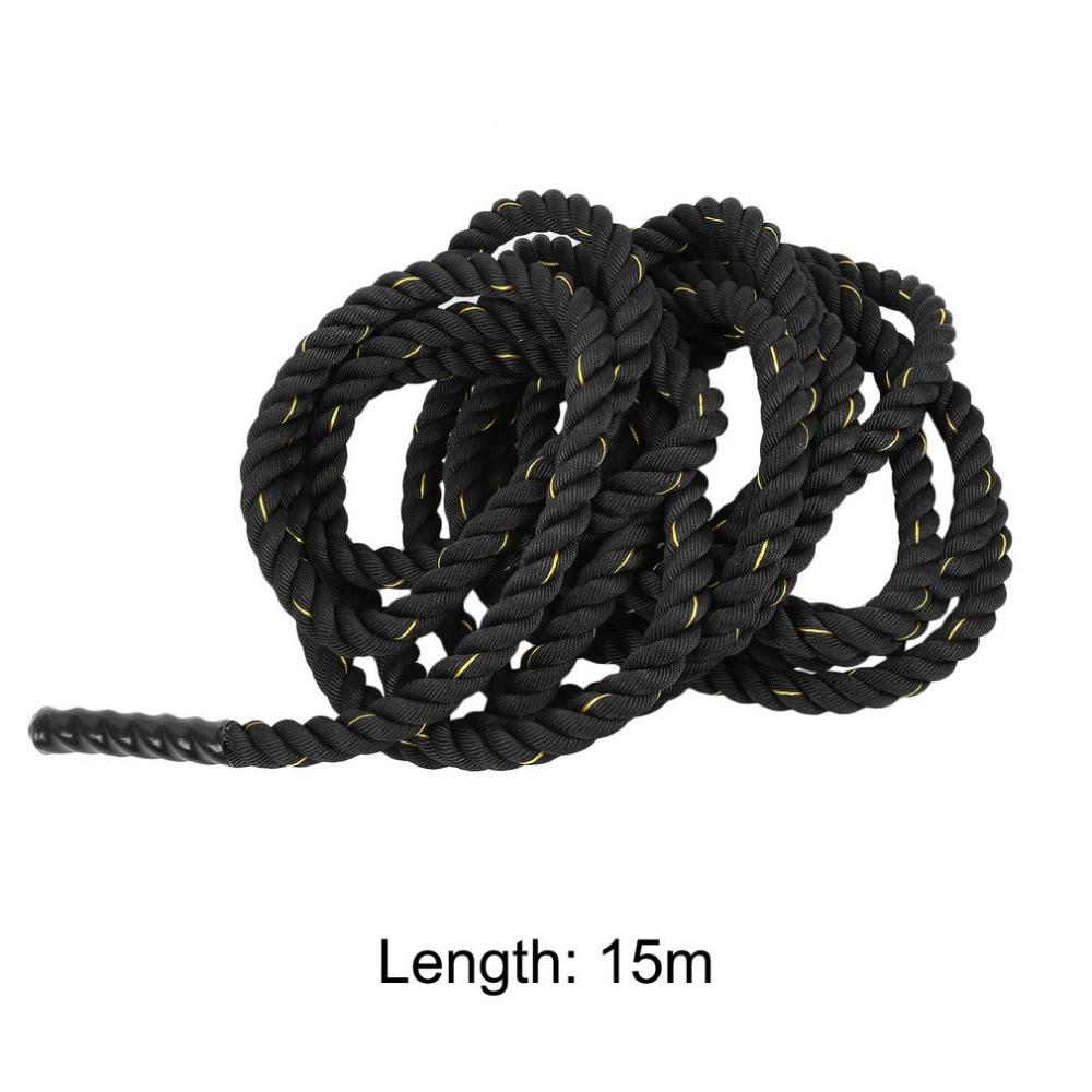 Musculation 38mm 12 m/15 m Poly Dacron bataille corde exercice entraînement force Cardio entraînement ondulation Fitness corde noir - 6