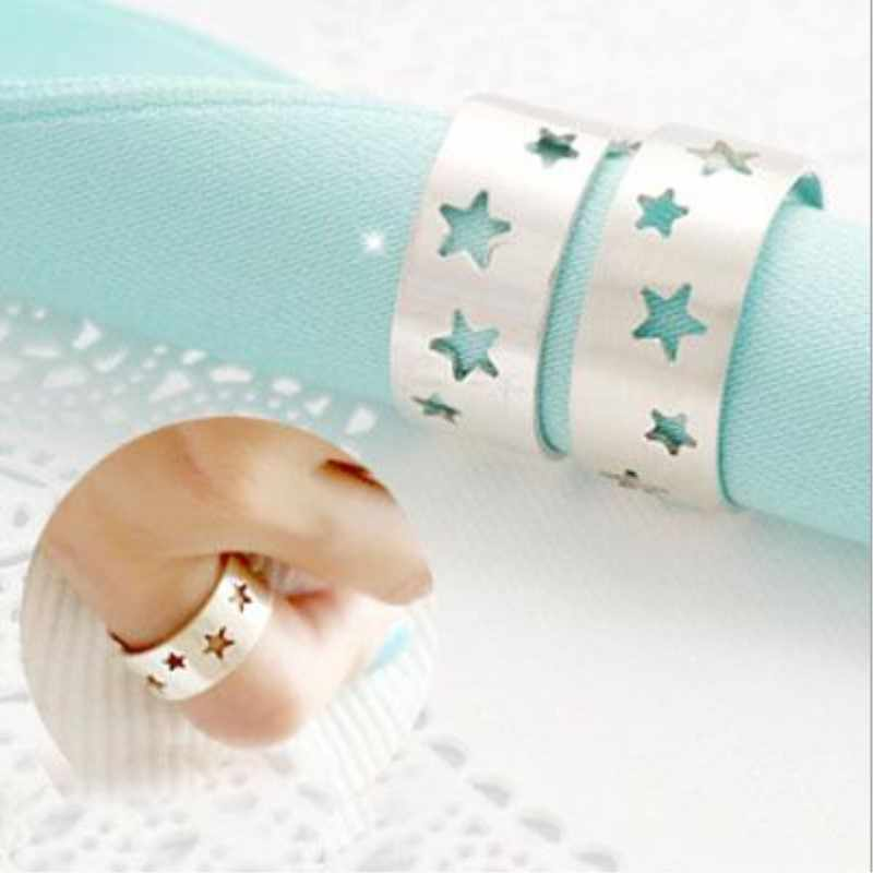Creative Fashion Korean Style Temperament 925 Sterling Silver Jewelry Hollow Five Pointed Star Personality Opening Rings SR195