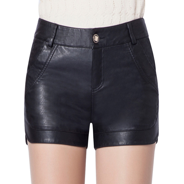 2016 New winter PU leather shorts women's  Slim high waist plus size PU leather short fashion leather Washed 8 size