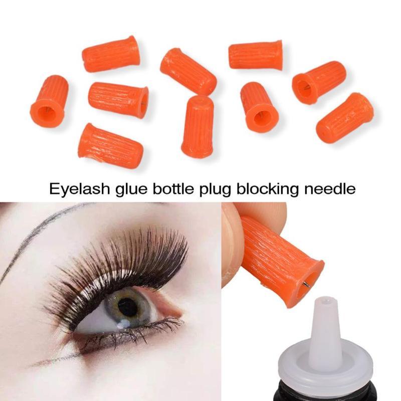 10pcs Eyelash Glue Bottle Plug Blocking Needle For Eyelash Extensions Tools Red False Fake Eye Lashes Beauty Makeup Tool