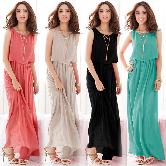2eeee3e8f Vestidos Bohemian Loose Chiffon Dress Women Summer Dress Sexy Sleeveless  Pleated Long Maxi Beach Dress Plus Size Women Clothing