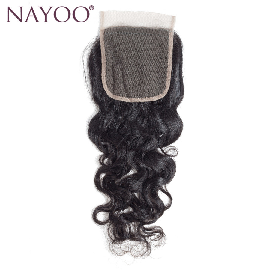 NAYOO Hair Water Wave Lace Closure Brazilian Hair 4x4 Free Part Swiss Lace 130% Density Natural Black Non Remy Human Hair