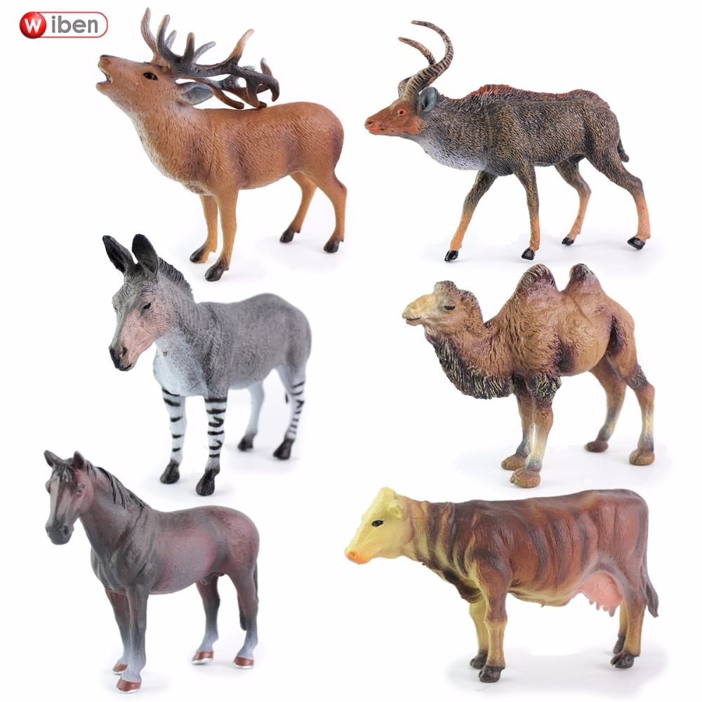 Wiben horse deer Cattle zebra camel Hippo Tiger Lion Simulation Animal Model Action & Toy Figures Collections For Boy Gift wiben animal hand puppet action