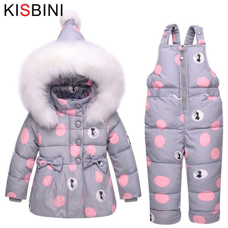 KISBINI Winter Children Clothes 2 Sets Fur Hooded Jumpsuit Jackets Bib Pant Baby Girl Duck Down Coats Warm Snowsuit Coat Cat Dot new winter baby girls clothes white duck down parka warm goose down jackets for kid warm long coats big fur hooded for children