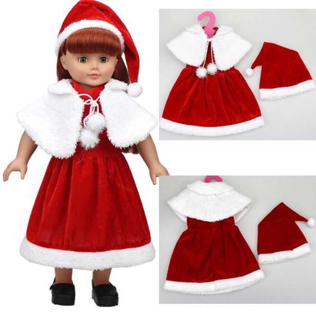 [MMMaWW] Christmas Costume dress for 18 45cm American girl doll Santa dress with hat for Alexander doll dress up, girl gift american girl doll clothes halloween witch dress cosplay costume for 16 18 inches doll alexander dress doll accessories x 68