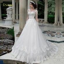 Loverxu שיק סקופ קו שמלות כלה 2019 יוקרה Applique ארוך שרוול כפתור תחרה עד הכלה שמלת משפט רכבת תחרה כלה שמלה