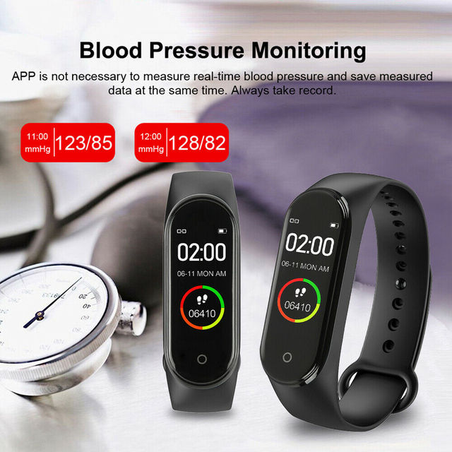 Portable Men's And Women's Waterproof Smart Color Screen M4 Watch Heart Rate Monitor Monitoring Health Tracker Sports Bracelet 2