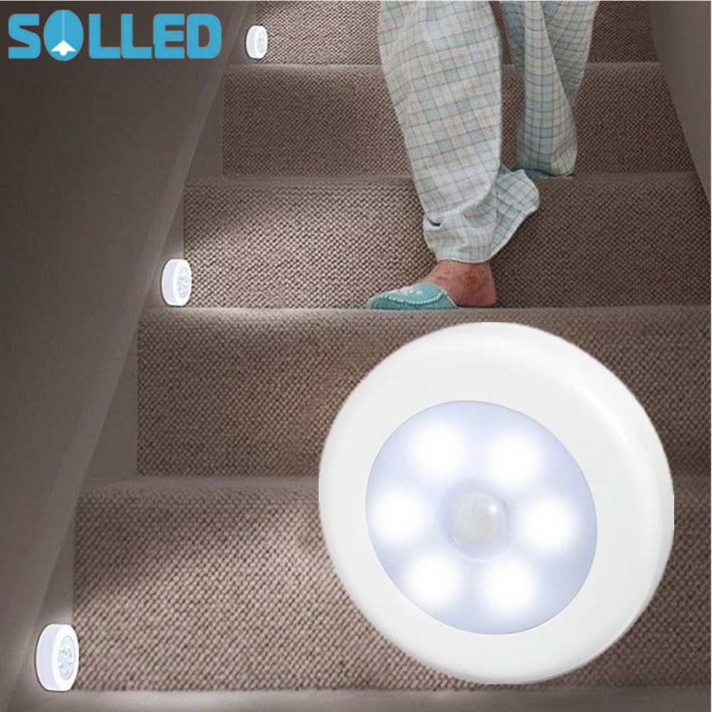 SOLLED Infrared PIR Motion Sensor 6 Led Night Light Wireless Detector Light Wall Lamp Auto On/Off Closet Battery Power