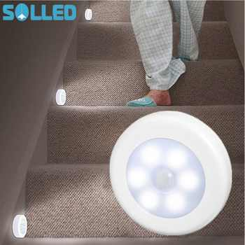 SOLLED Infrared PIR Motion Sensor 6 Led Night Light Wireless Detector Light Wall Lamp Light Auto On/Off Closet Battery Power - DISCOUNT ITEM  29% OFF Lights & Lighting