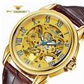 FNGEEN Luxury Gold Skeleton Automatic Mechanical Watch Men Watch Leather Strap Retro Top Brand Business Dress Watches