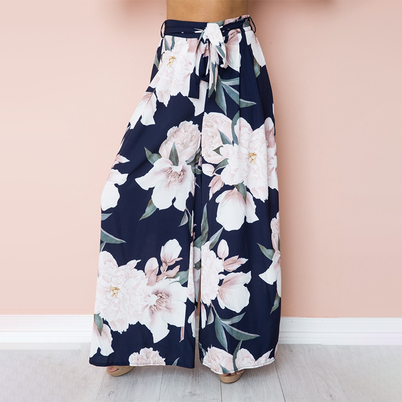 Melegant   Wide     Leg     Pants   Women 2019 Summer Flower Floral Print Casual High Waist Beach Women   Pants   Sash Feminino Trousers