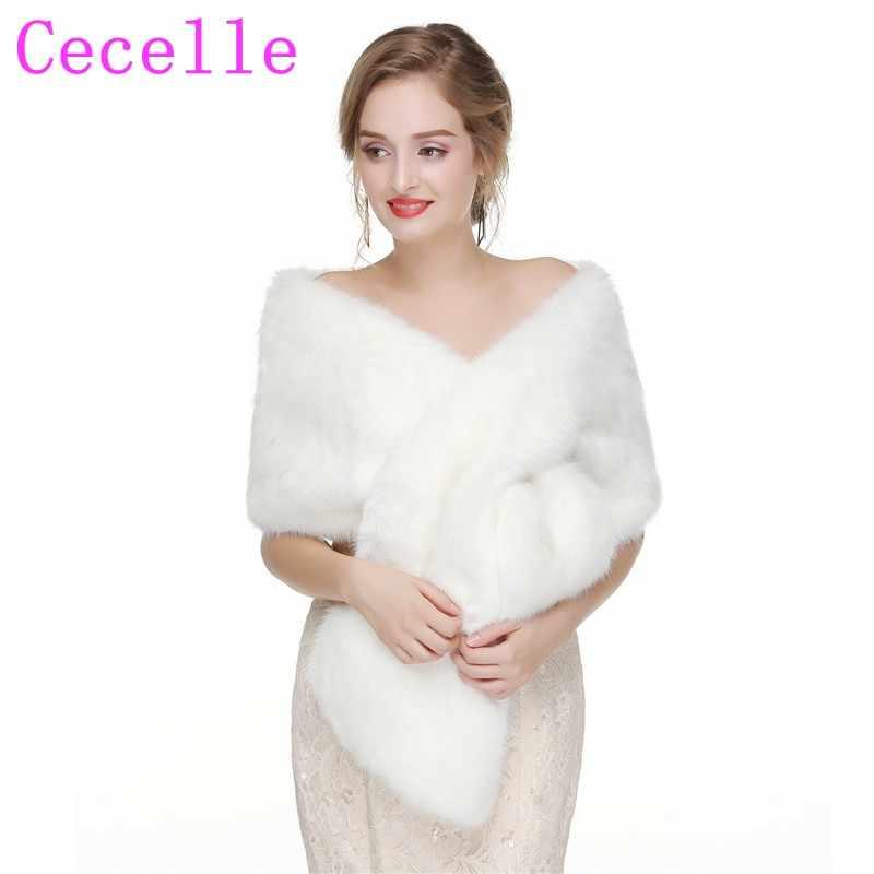 fa6631826d Ivory Real Faux Fur Bridal Wraps Brides Long Shoulder Fur Shawls Fur Shrugs  Stoles For Women
