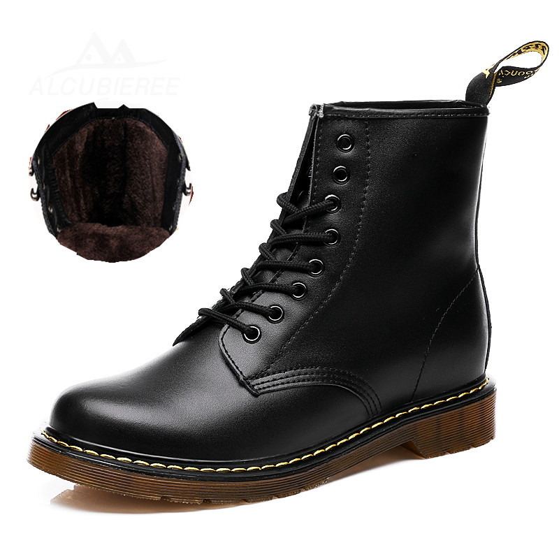 Unisex Leather Boots Fashion Winter Motorcycle Martin Boots Men Casual Ankle Boots With Warm Fur Couple Snow Boots Big Size цена