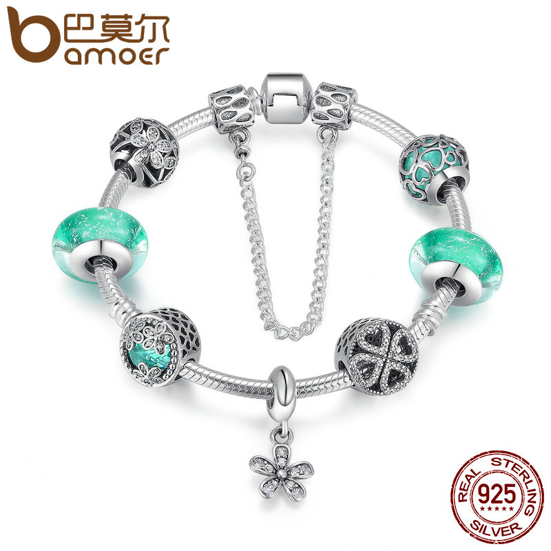 BAMOER 925 Sterling Silver Blooming Daisy Pendant,Green Crystal Murano Glass Beads Charm Bracelet Sterling Silver Jewelry PSB016