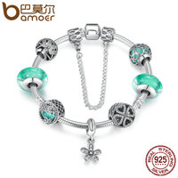 BAMOER 925 Sterling Silver Blooming Daisy Pendant Green Crystal Murano Glass Beads Charm Bracelet Sterling Silver