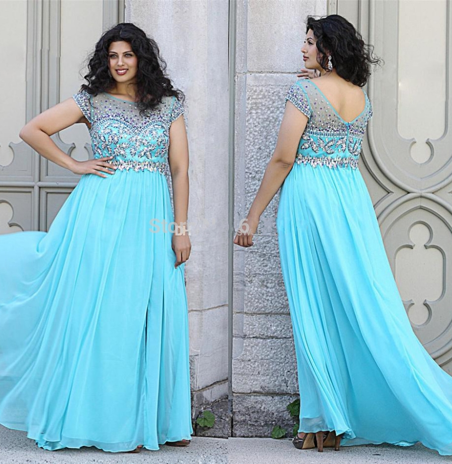Manufacturer of elegant dresses evening dresses occasional wholesale - Fashion Elegant Light Blue Plus Size Prom Dresses 2015 Beaded Short Sleeve A Line Ballkleider Vestido