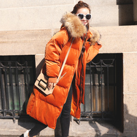 New Women Winter Jacket And Coat Thick Long Hooded Female Cotton Padded Jacket Big Faux Fur Collar Velvet Parka 2018