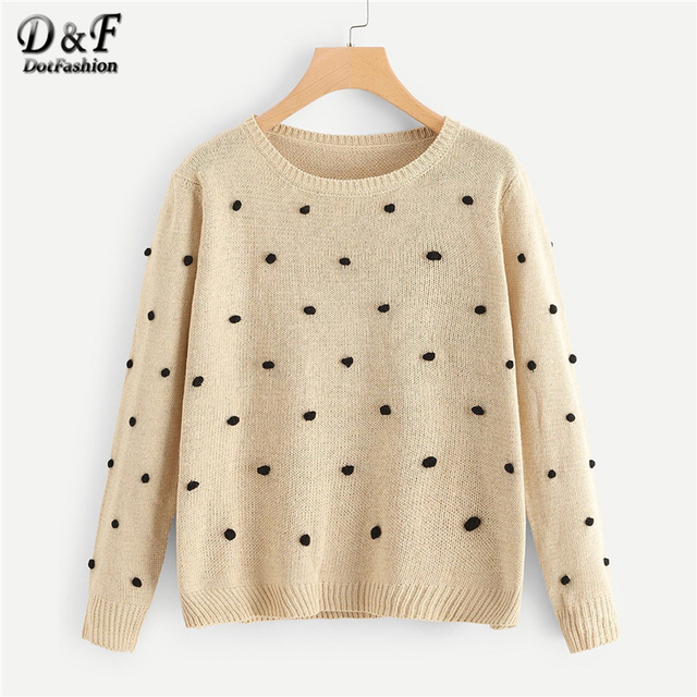 Dotfashion Khaki Polka Dot Pom Pom Detail Sweater Women Casual